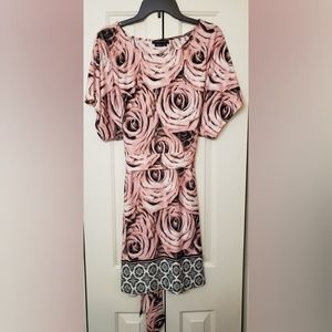 BCBGMAXAZRIA Summer Tie Back Rose Printed Dress S